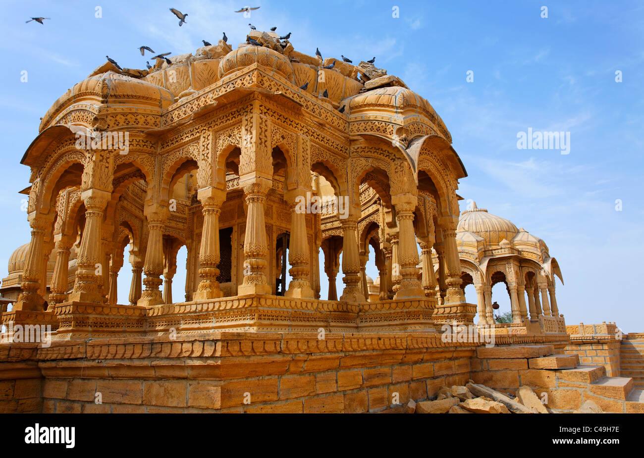 India - Rajasthan - the Royal Cenotaphs near Jaisalmer - Stock Image
