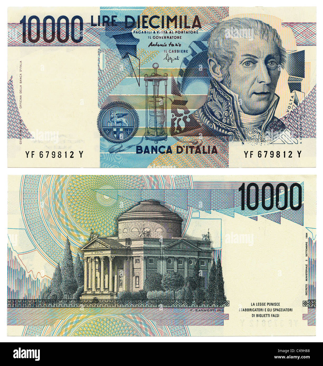 Front And Back Of Former 10000 Cimila Italian Lira Banknote Replaced By The Euro In 2002 On A Pure White Background Jmh4970