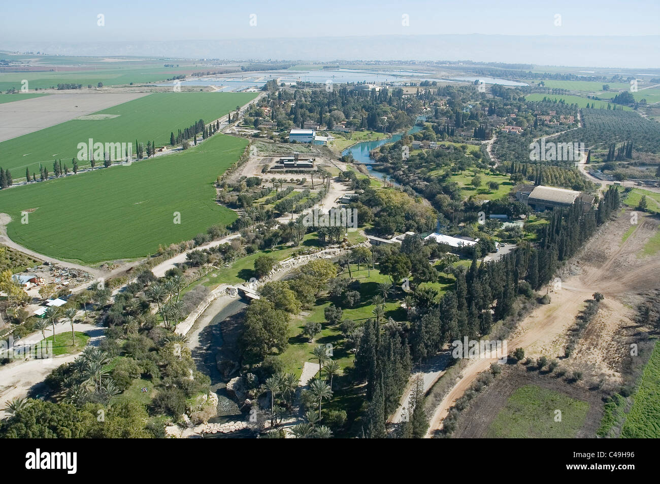 Aerial photograph of kibutz Nir David in the eastern Jezreel valley - Stock Image