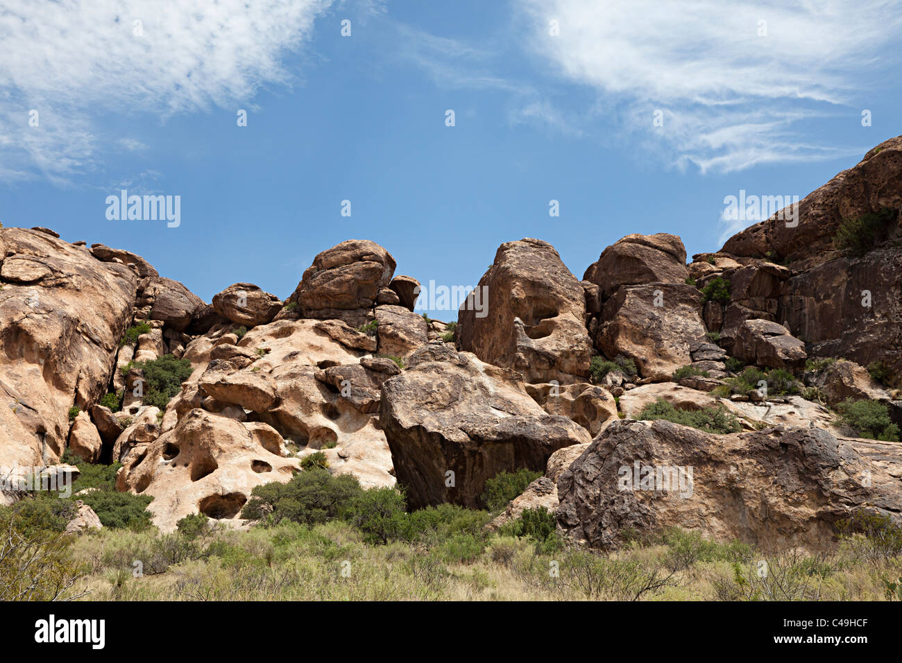 Desert boulders and terrain Hueco Tanks State Historic Site Texas USA - Stock Image