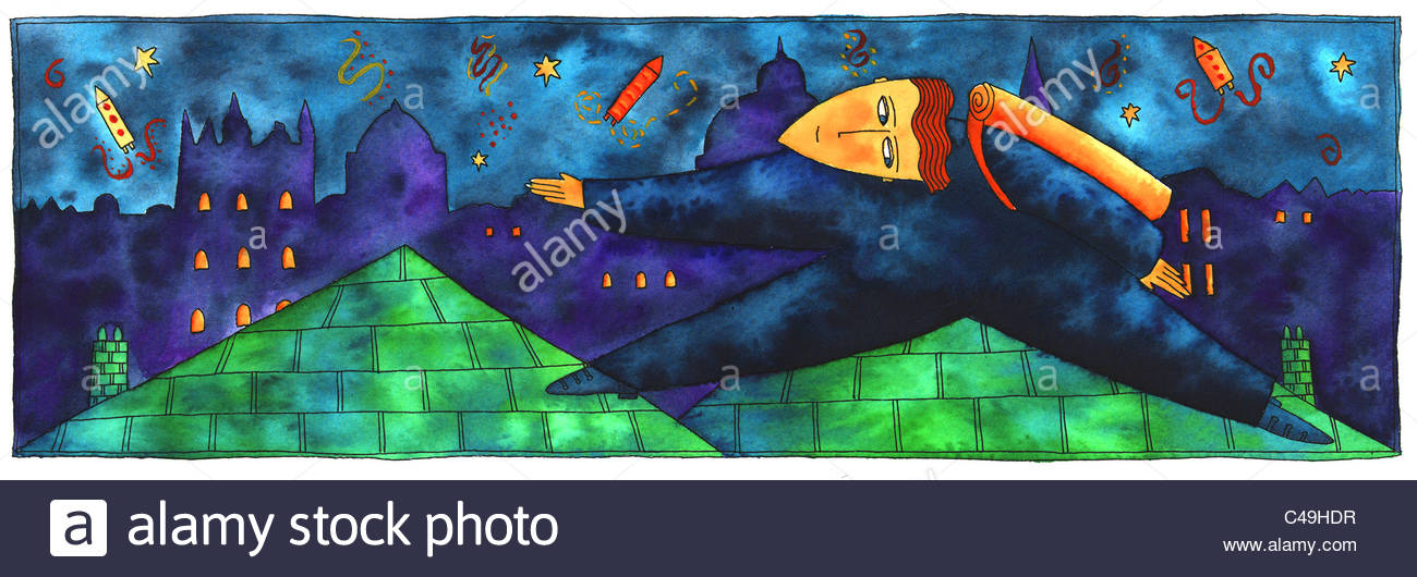 Pen and ink illustration of a cat burglar on a roof during the night. - Stock Image