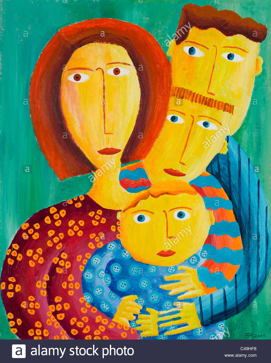 Acrylic painting of mother and three sons - Stock Image