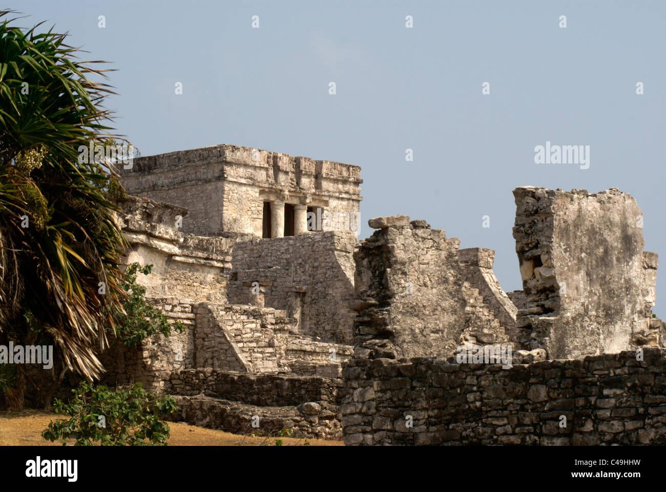 El Castillo at the Mayan ruins of Tulum on the Riviera Maya, Quintana Roo, Mexico - Stock Image
