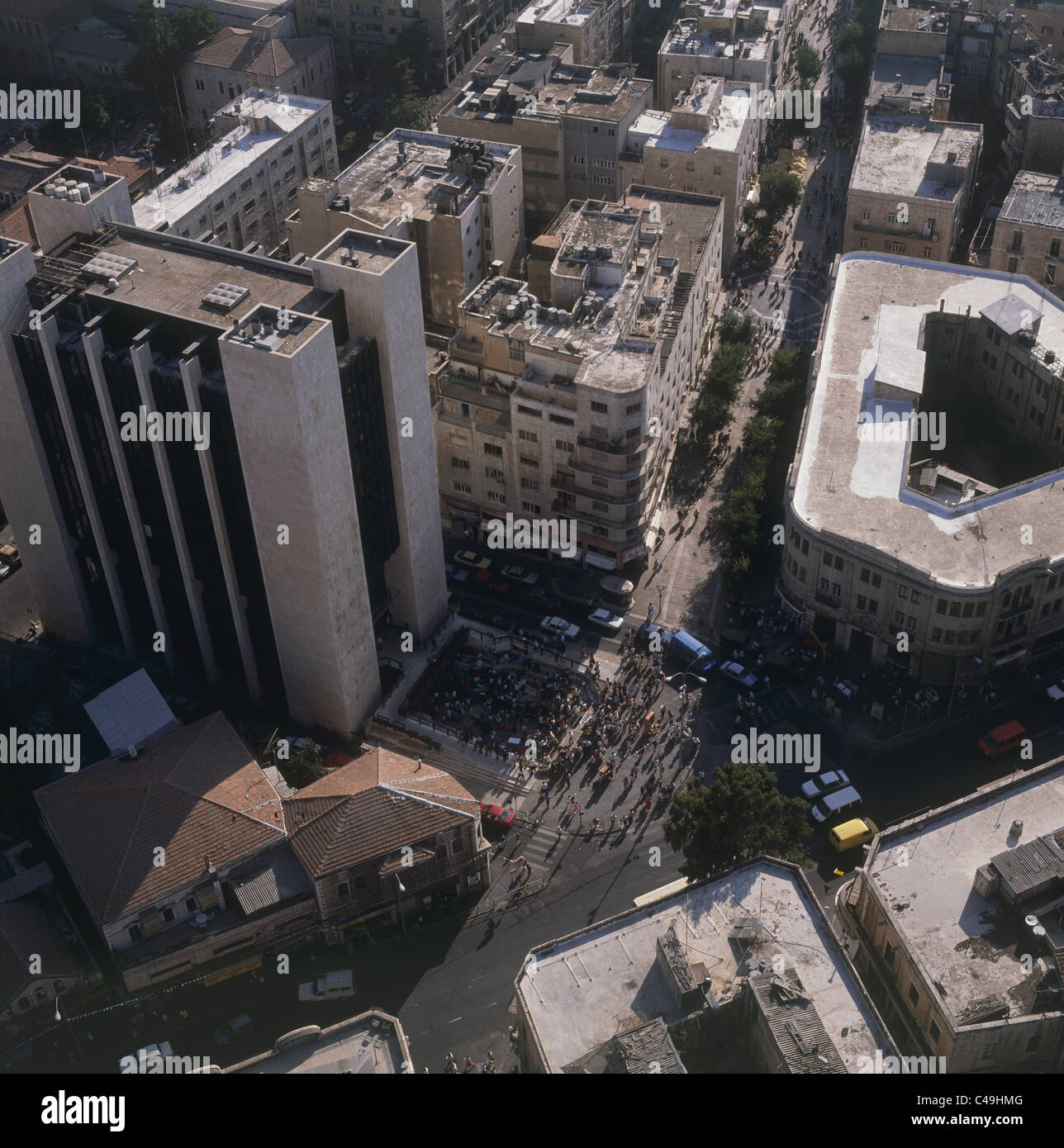 Aerial photograph of the Zion Square in Jerusalem - Stock Image
