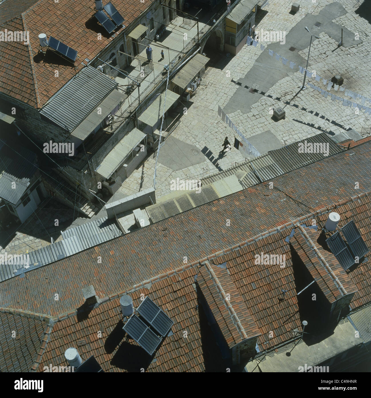 Aerial photograph of the Triangular courtyard in Me'ah Shearim in Jerusalem - Stock Image