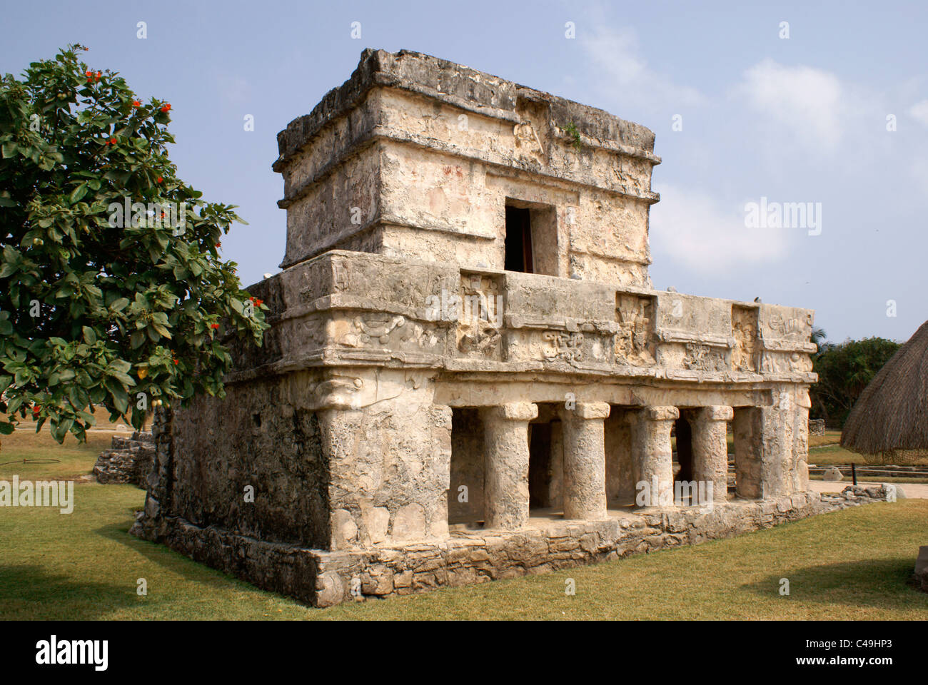 Temple of the Frescos at the Mayan ruins of Tulum on the Riviera Maya, Quintana Roo, Mexico - Stock Image