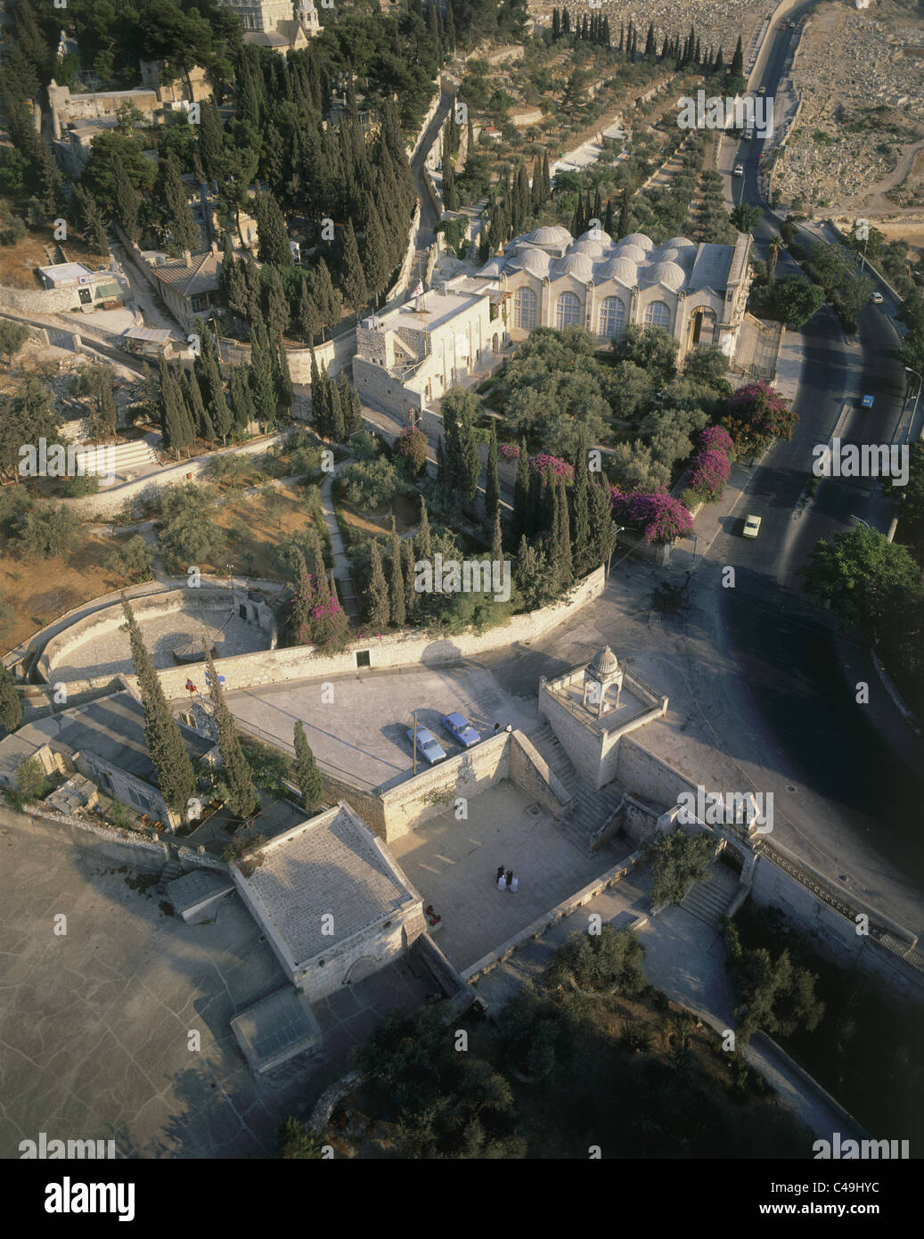 Aerial photograph of Mary's tomb and the church of Assumption in eastern Jerusalem - Stock Image