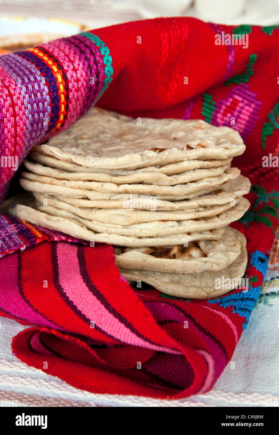 Home-made from scratch traditional Maya-style Guatemalan corn tortillas are fluffy and cake-like. - Stock Image