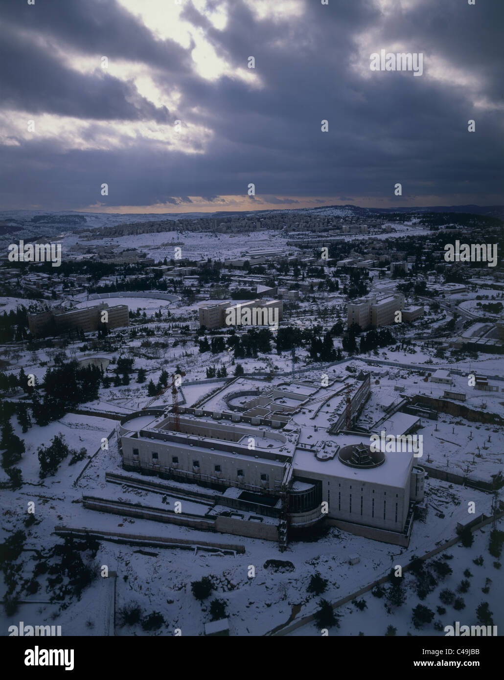 Aerial photograph of Israel's Supreme Court in Jerusalem at winter - Stock Image