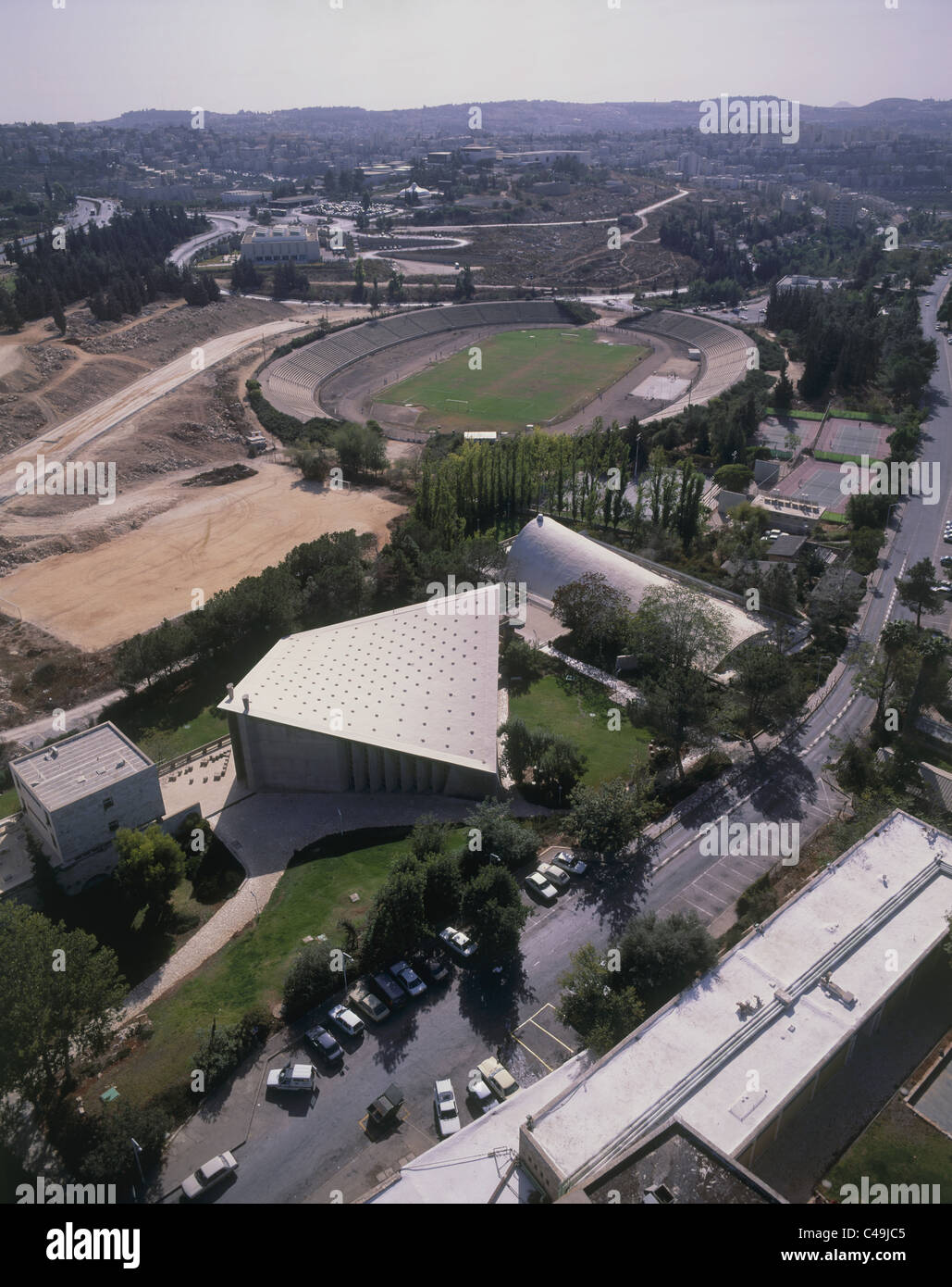 Aerial photograph of the Hebrew University in Jerusalem - Stock Image