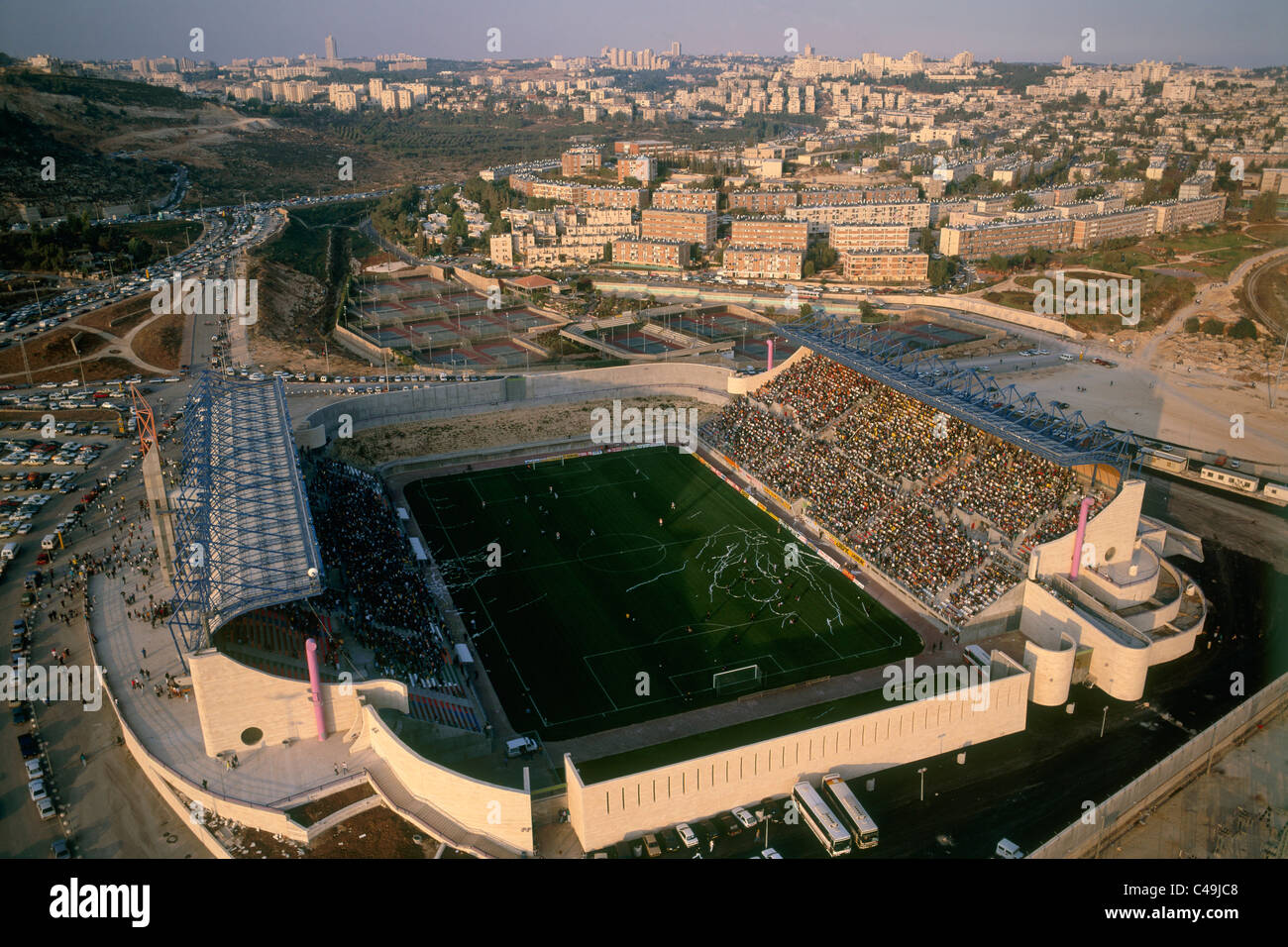 Aerial photograph of a soccer match in the Teddy Satdium in Jerusalem - Stock Image