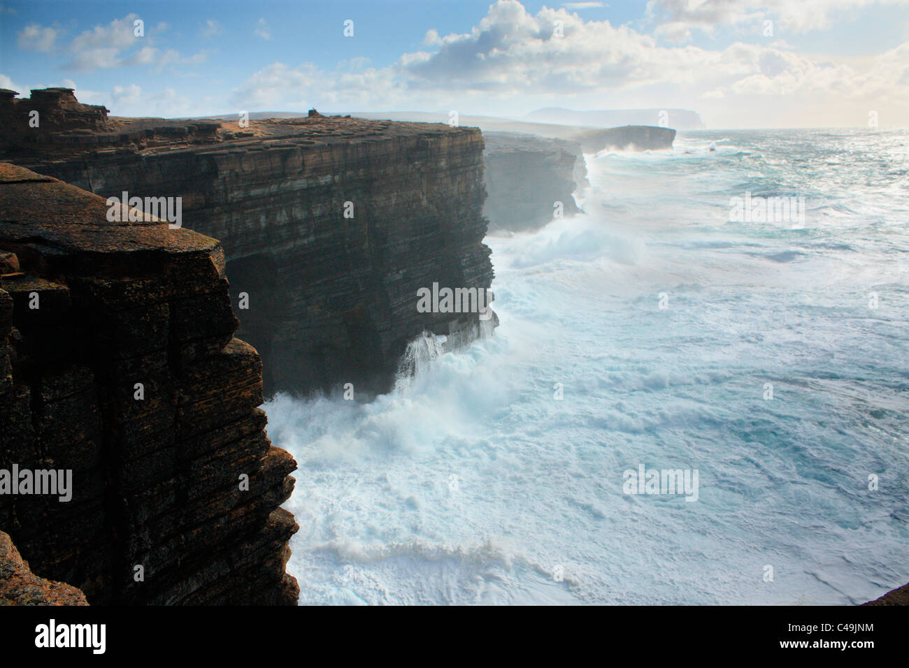 Orkney, Yesnaby rough seas - Stock Image