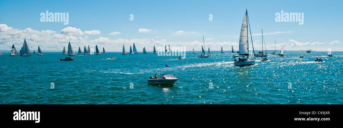 The start of the annual Brisbane to Gladstone yacht race, Moreton Bay, Brisbane, Queensland, Australia - Stock Image