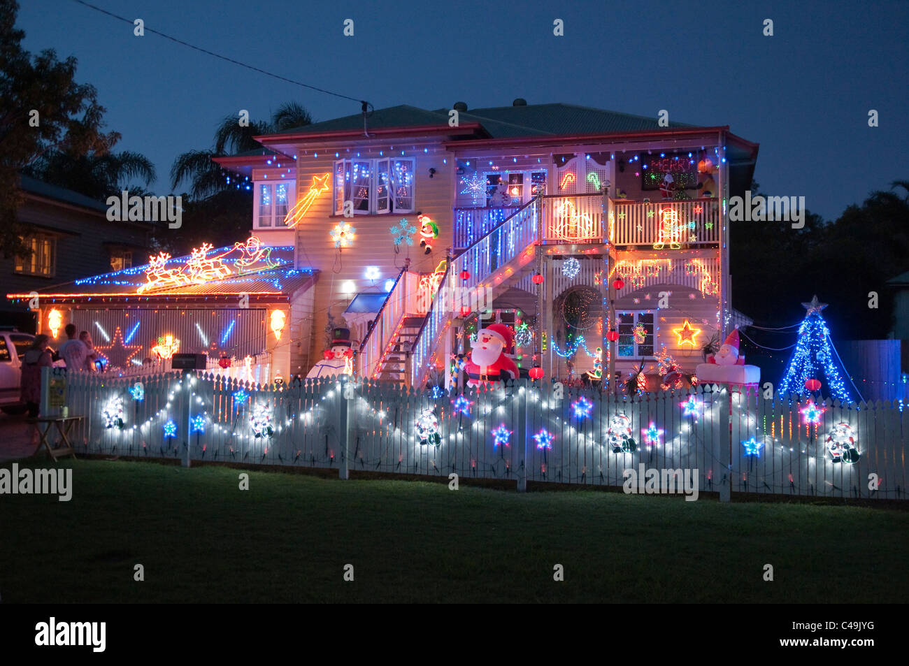 christmas lights decorating a house brisbane queensland australia stock image