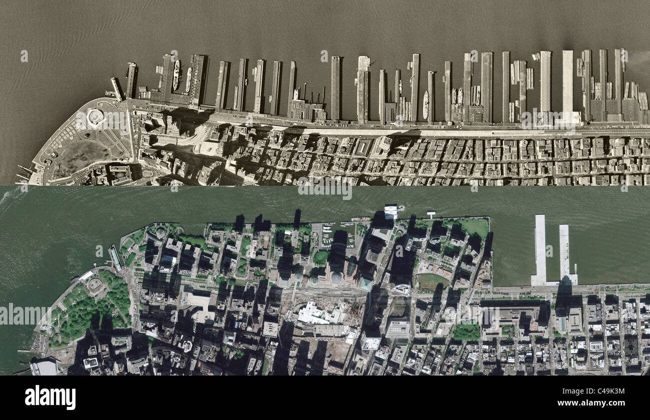 historical aerial comparison view 1954 2009 Hudson River piers Battery Park City New York City - Stock Image