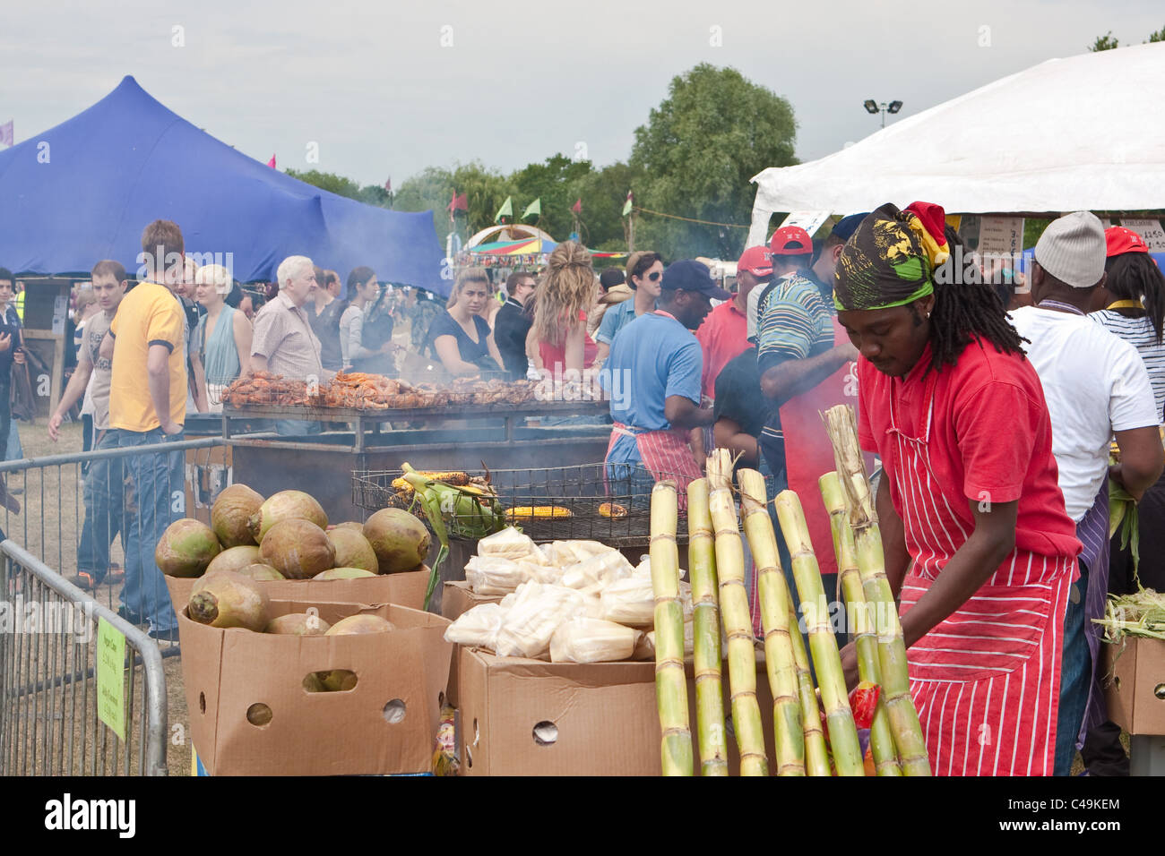Caribbean food stall at the Cambridge Strawberry Fair 2011 - Stock Image