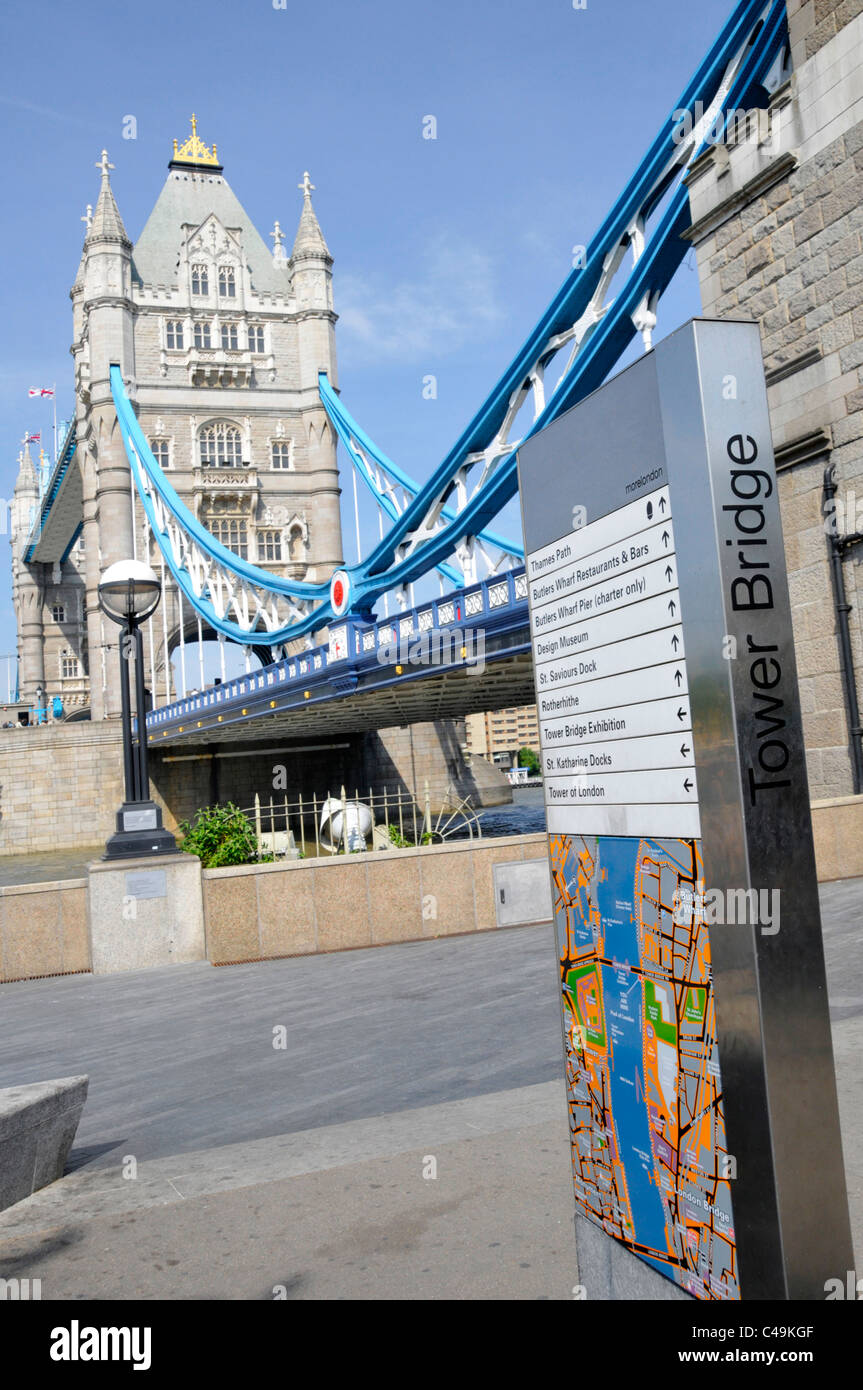 Tourism information on legible London Street Signs Tower Bridge local map & directions to local sightseeing - Stock Image