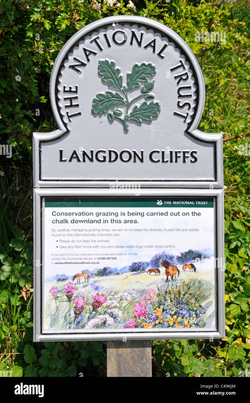 National Trust sign at Langdon Cliffs chalk downland nature reserve & Site of Special Scientific Interest & - Stock Image