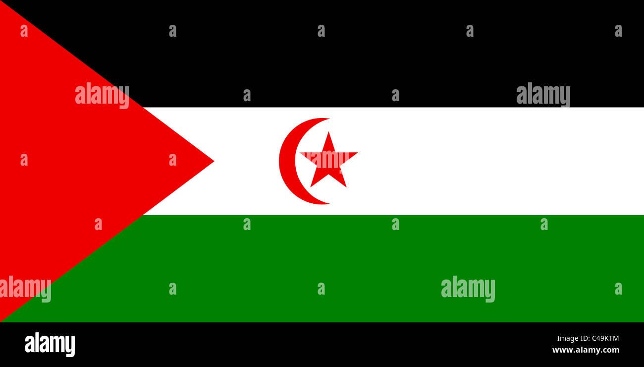 Flag of the Sahrawi Arab Democratic Republic - Stock Image