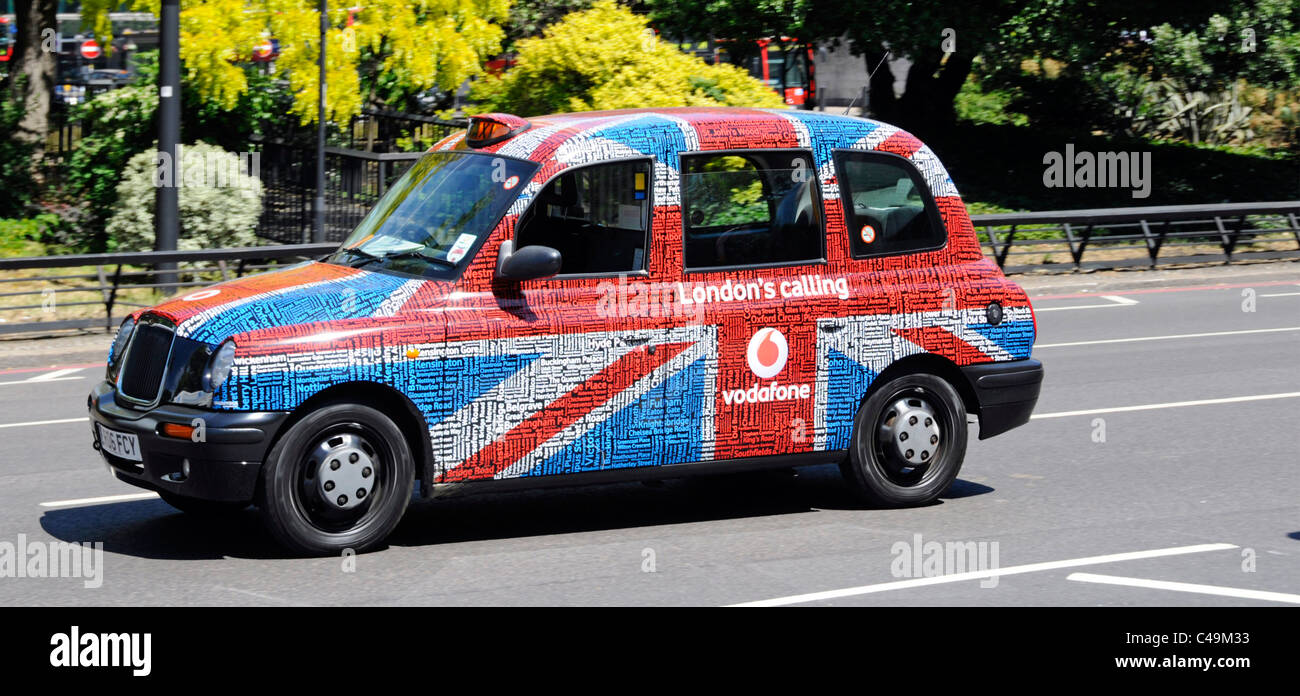 Vodafone 'London's calling' advertising campaign on outside of London taxis - Stock Image