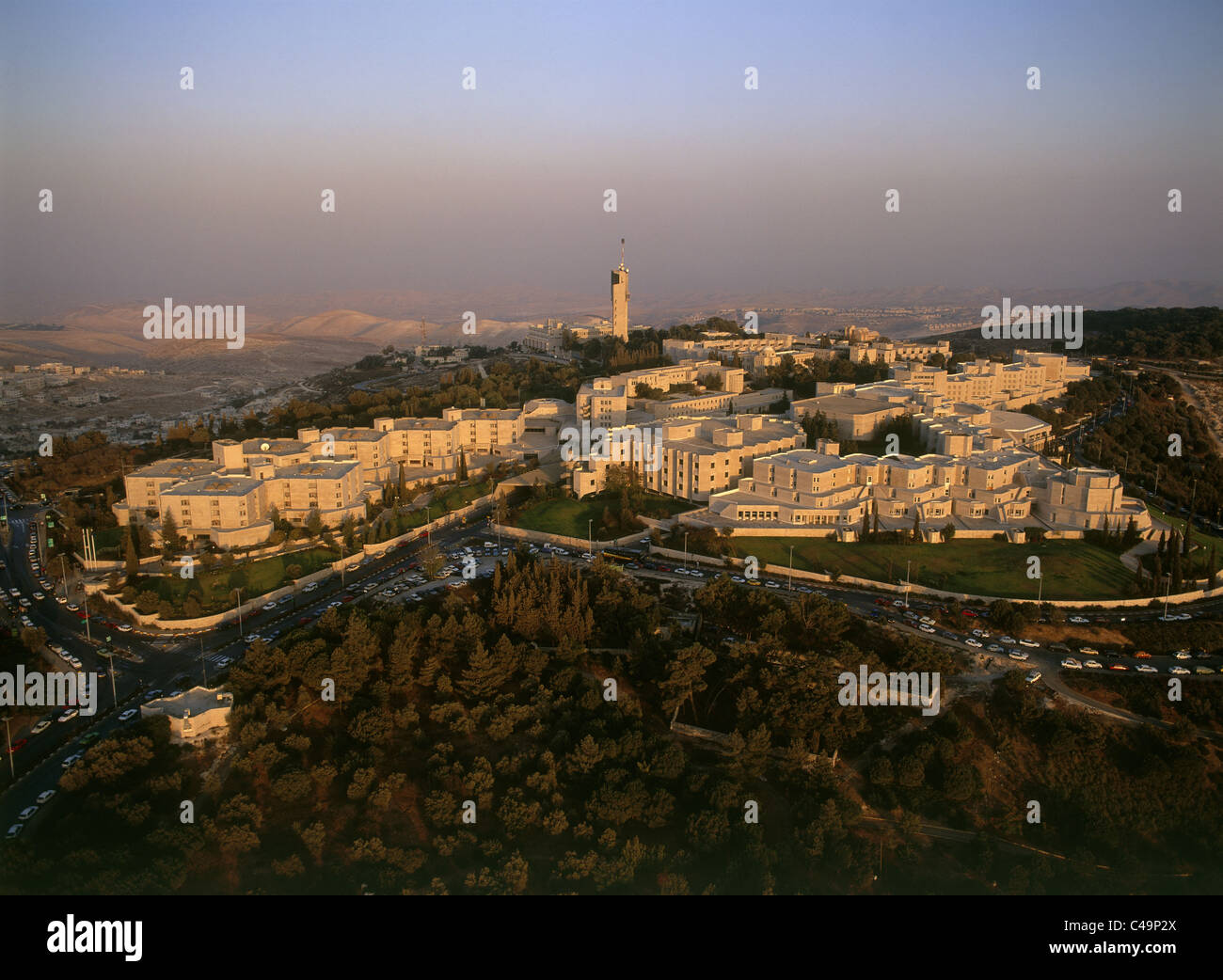 Aerial photograph of the Hebrew University on the summit of mount Scopus in Eastern Jerusalem - Stock Image