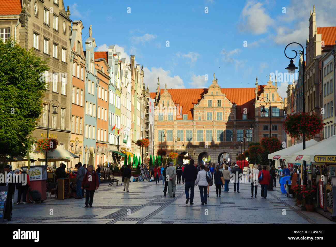 Długi Targ (the long market), centre of the old town in Gdansk, Poland - Stock Image