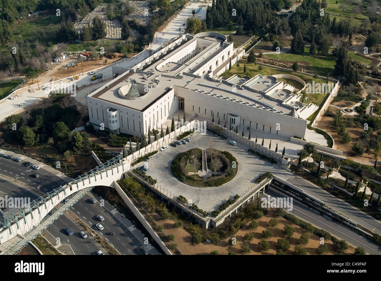 Aerial photograph of the Israeli Supreme Court in Western Jerusalem - Stock Image