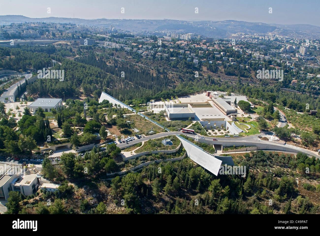 Aerial photograph of Yad VaShem in Western Jerusalem - Stock Image