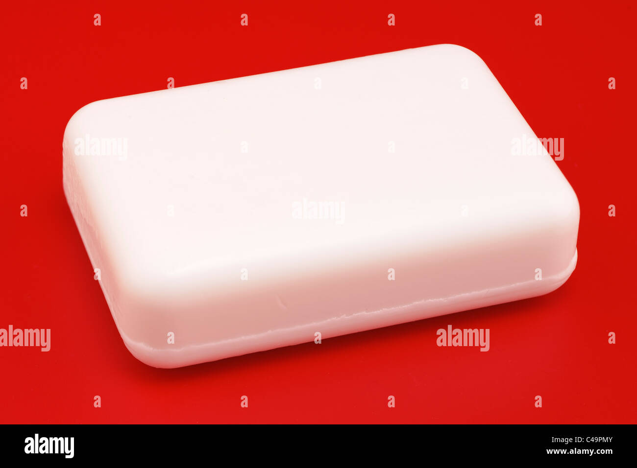 Bar of white soap - Stock Image