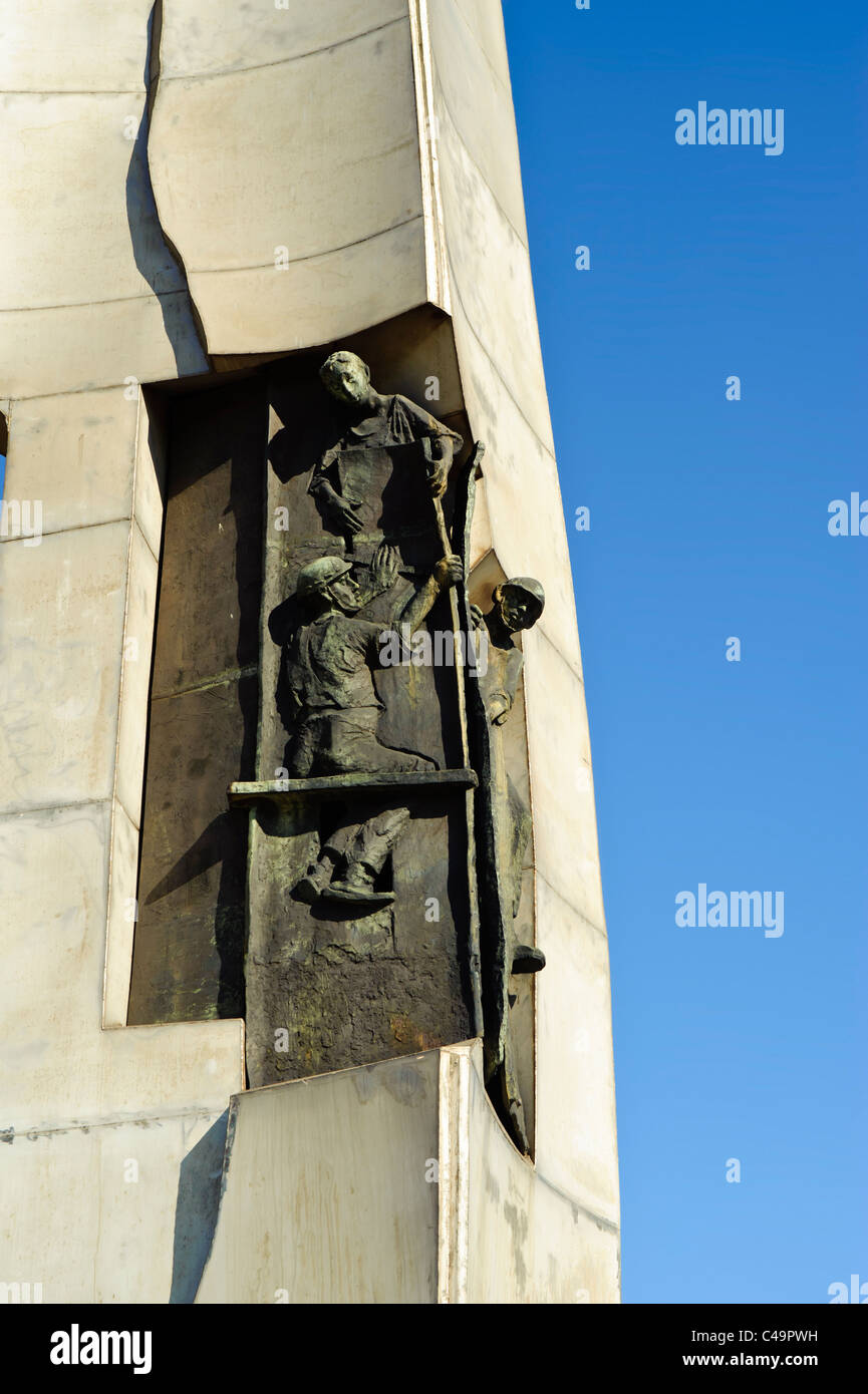 Detail of monument to fallen workers in Solidarity Square, Gdansk Poland - Stock Image