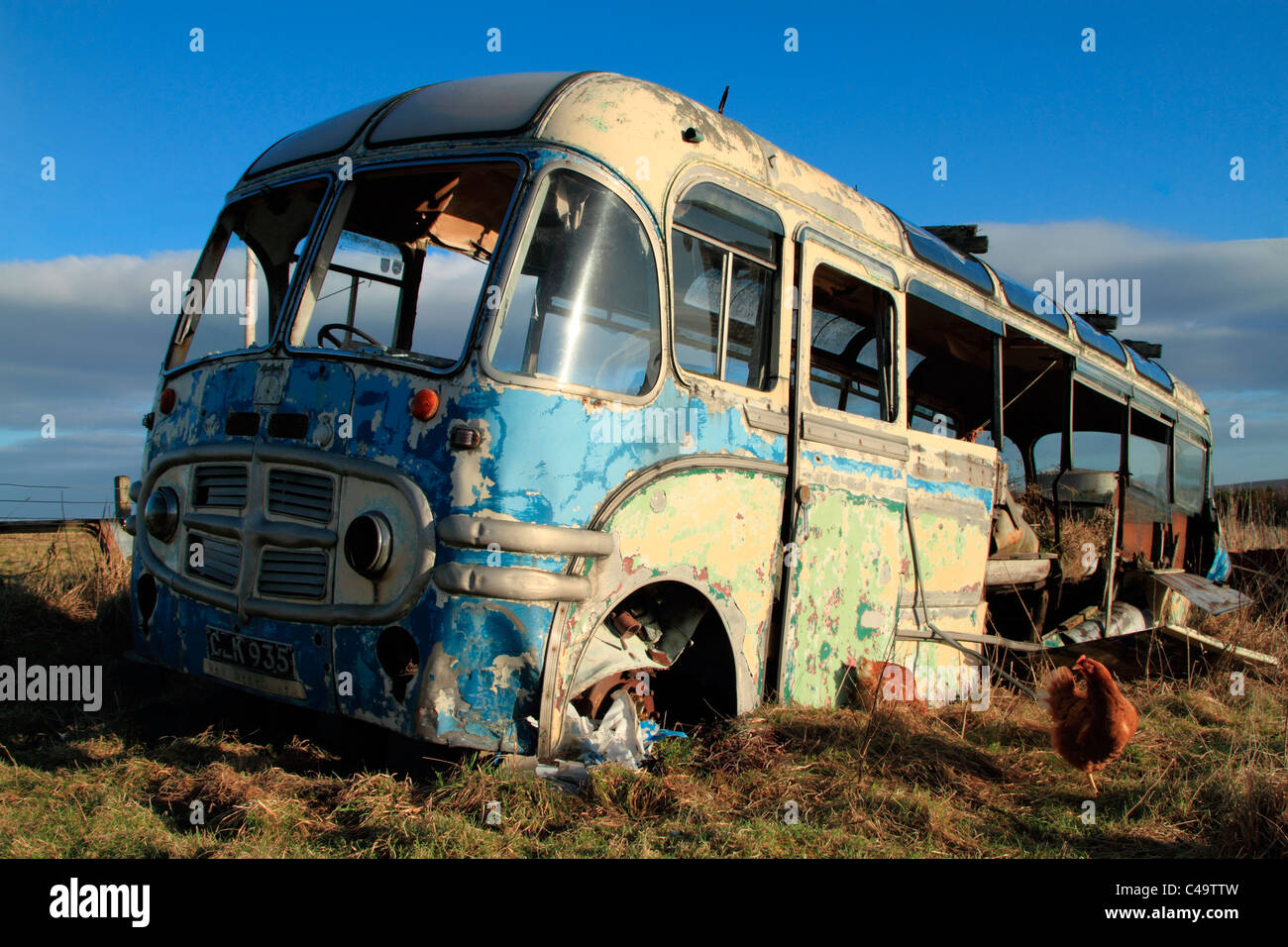 Old Bedford bus, Orkney isles - Stock Image