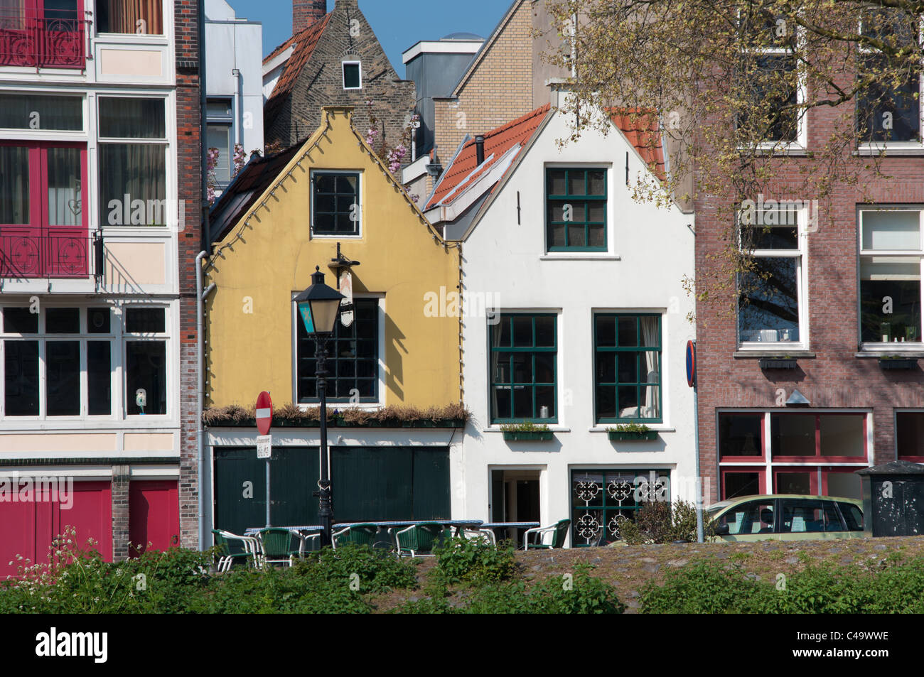 small monumental houses in the historic part of delfshaven, rotterdam Stock Photo