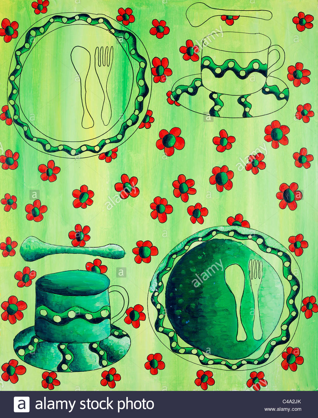 Acrylic painting of a flowered tablecloth with cups and plates - Stock Image