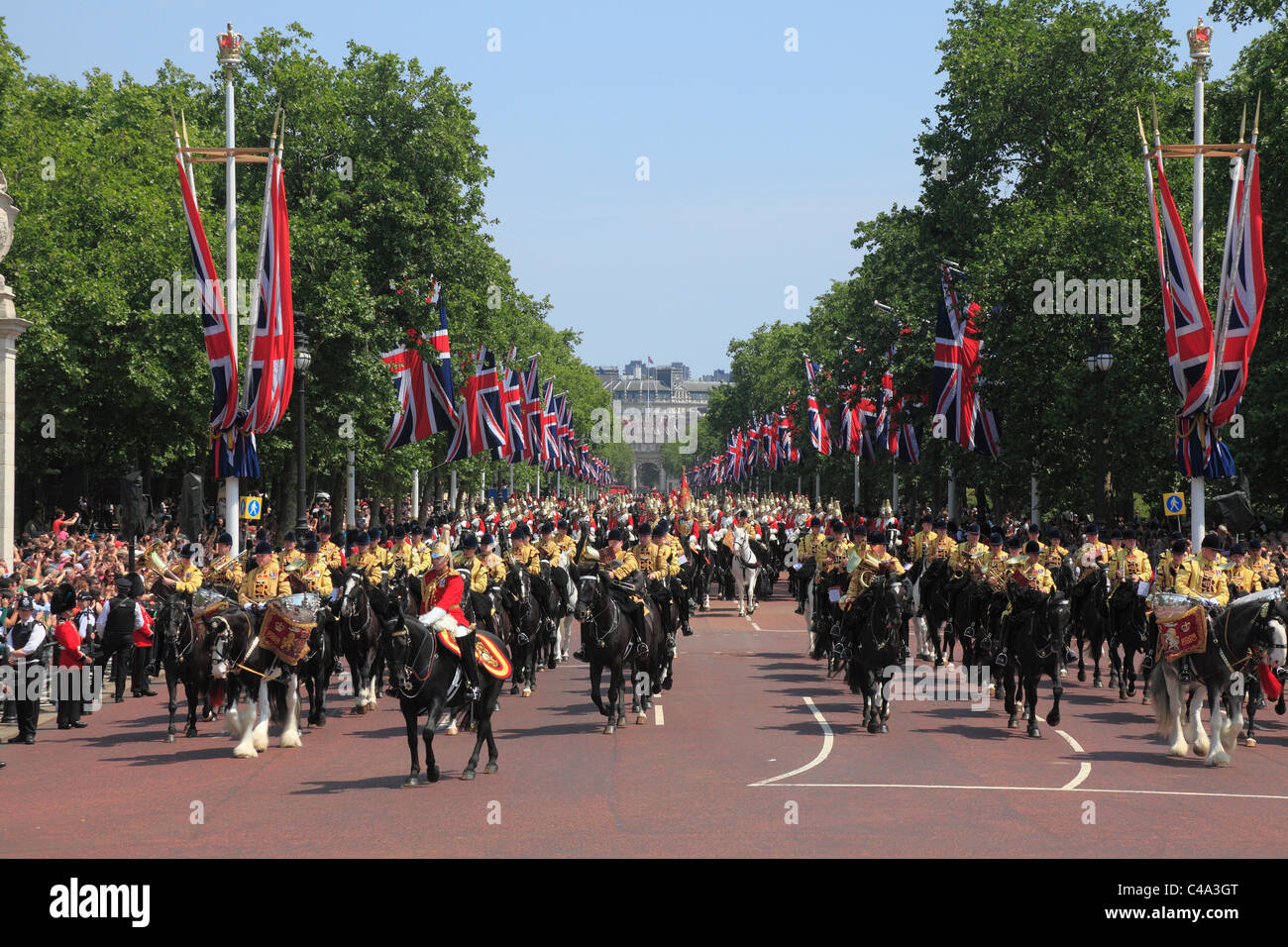 Mounted Cavalry in The Mall at the Trooping of the Colour Ceremony. - Stock Image