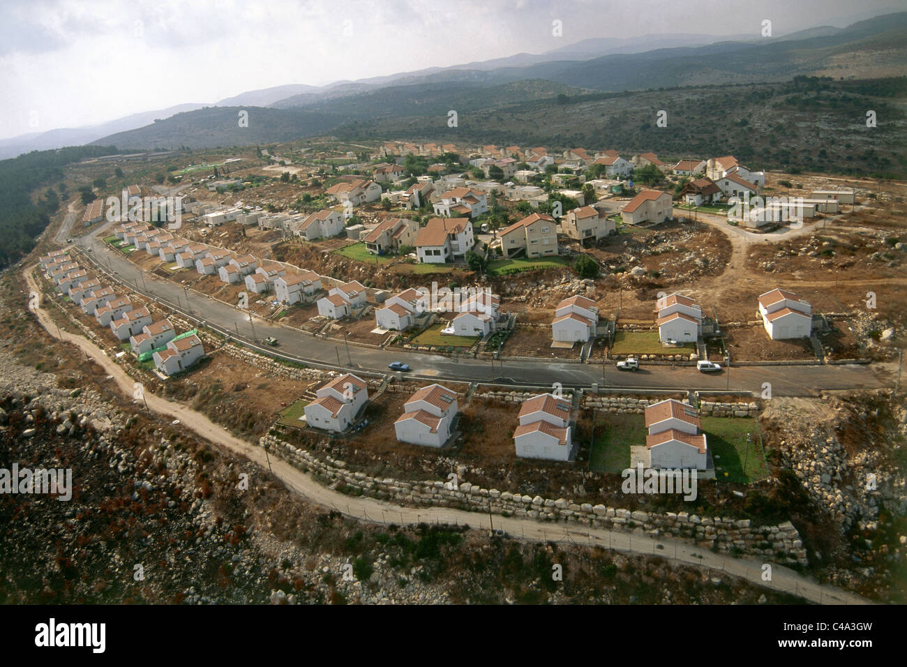 Aerial photograph of the Israeli settlement of Mevo Dotan in the West Bank - Stock Image