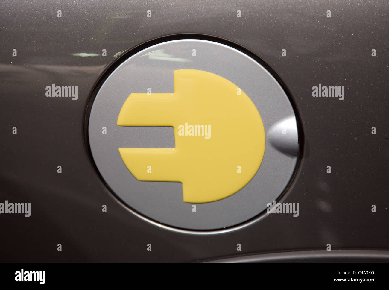 BMW Mini Electric Logo on the filler cap or fuel door - Stock Image