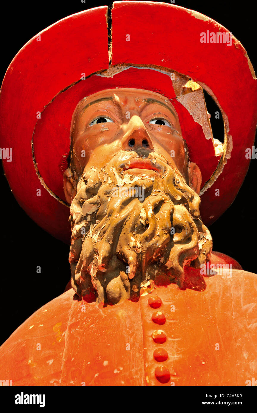 Spain, St. James Way: Detail of a medieval sculpture of Saint Jerome as a cardinal in the museum of Monastery San - Stock Image