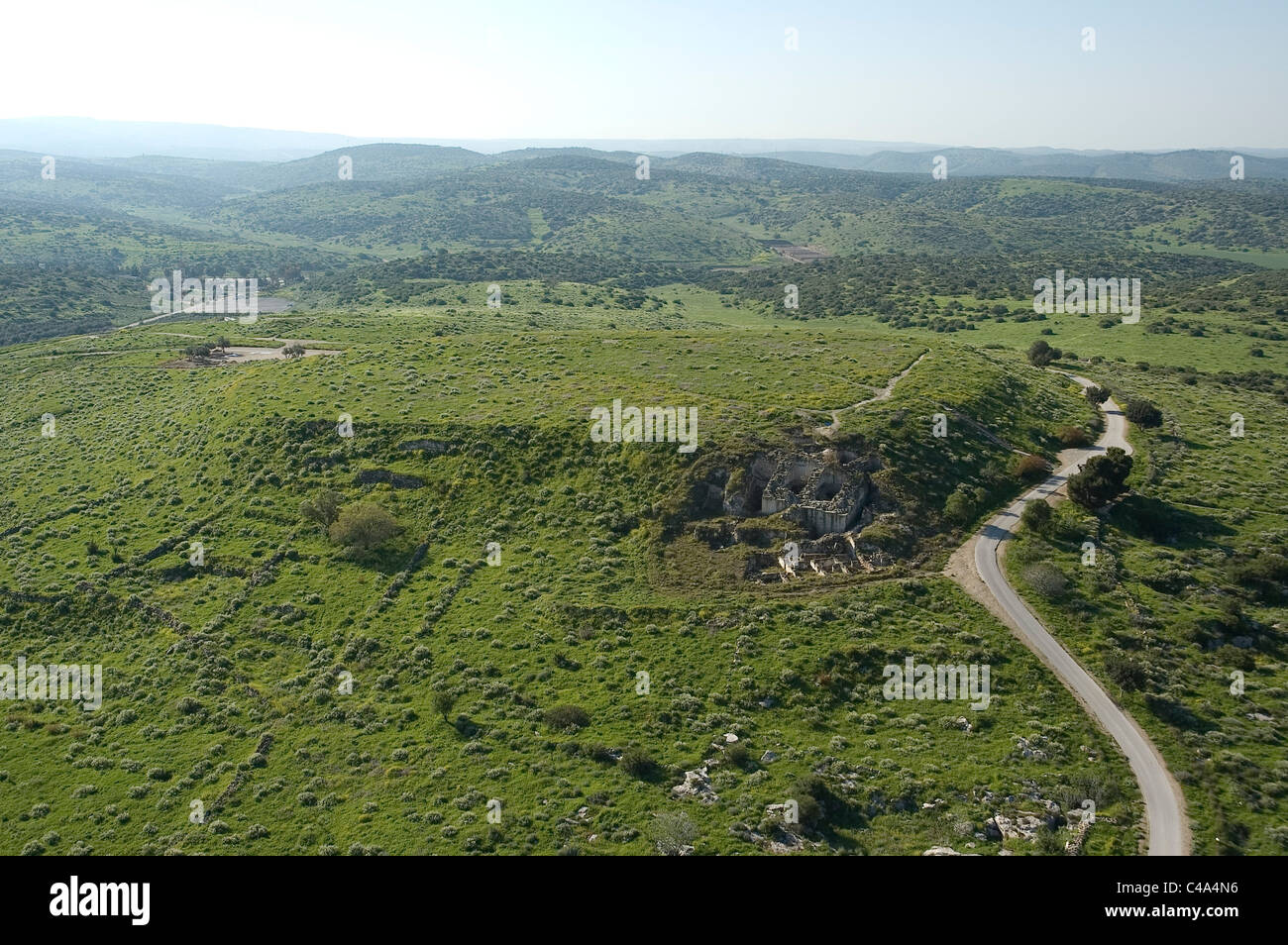 Aerial photograph of Tel Marisa in the Plain - Stock Image