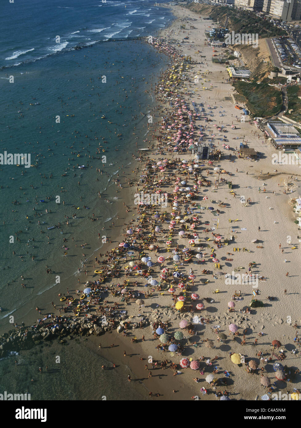Aerial photograph of the beach of Ashkelon at summer - Stock Image
