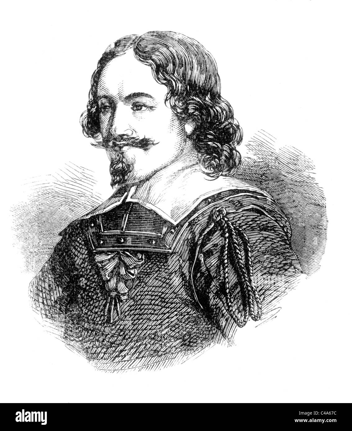 Portrait of General Leslie, Earl of Leven, English Parliamentarian during the English Civil Wars; Black and White - Stock Image
