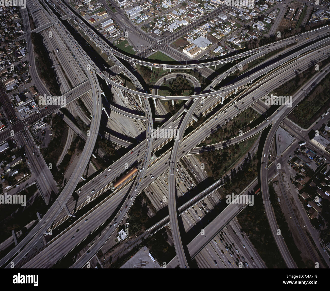 105 & 110 FREEWAY INTERCHANGE (aerial view). Los Angeles, California, USA. - Stock Image