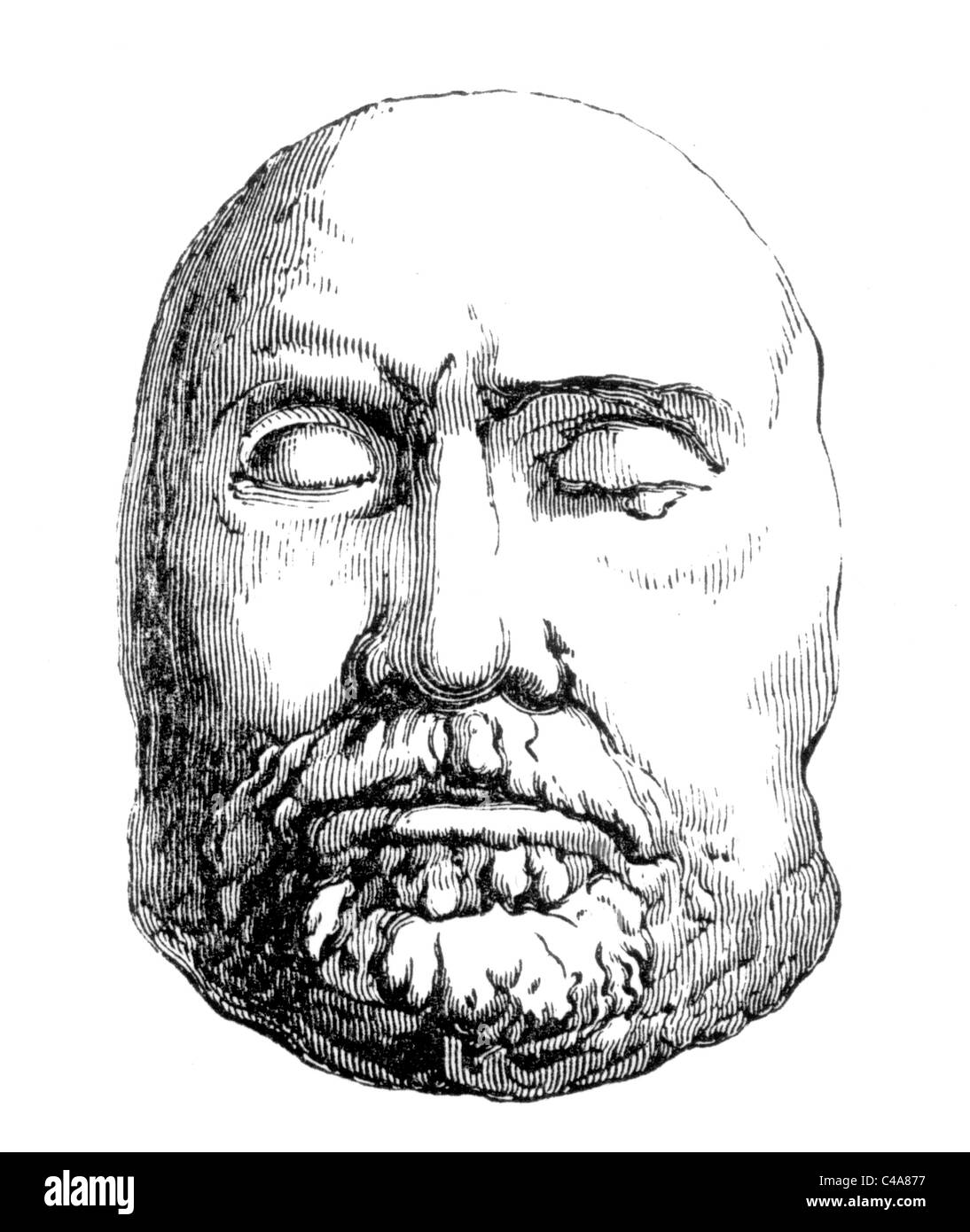The Death Mask of Oliver Cromwell 1658; Black and White Illustration; - Stock Image