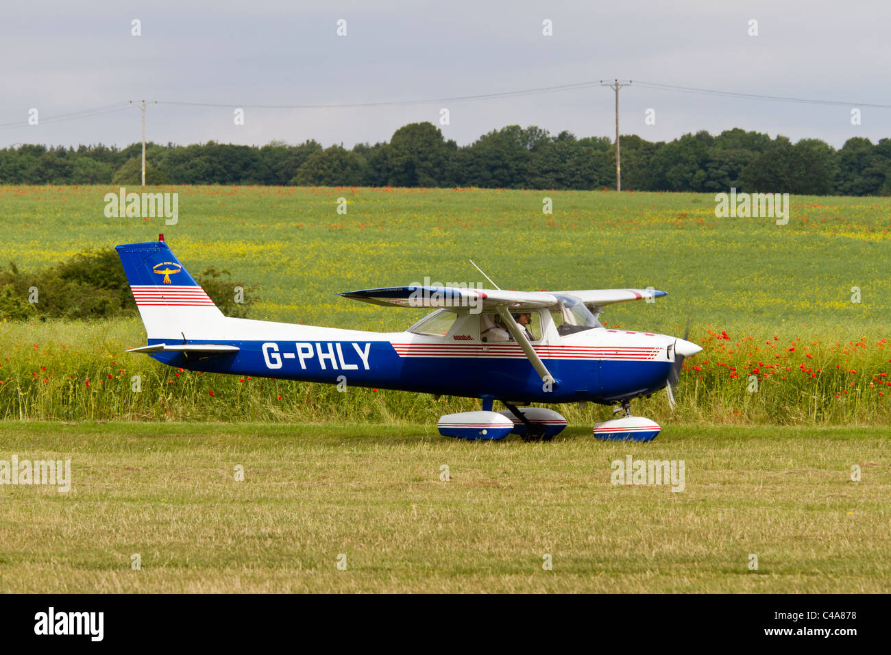 Reims Cessna 150 taxiing at Netherthorpe, South Yorkshire - Stock Image