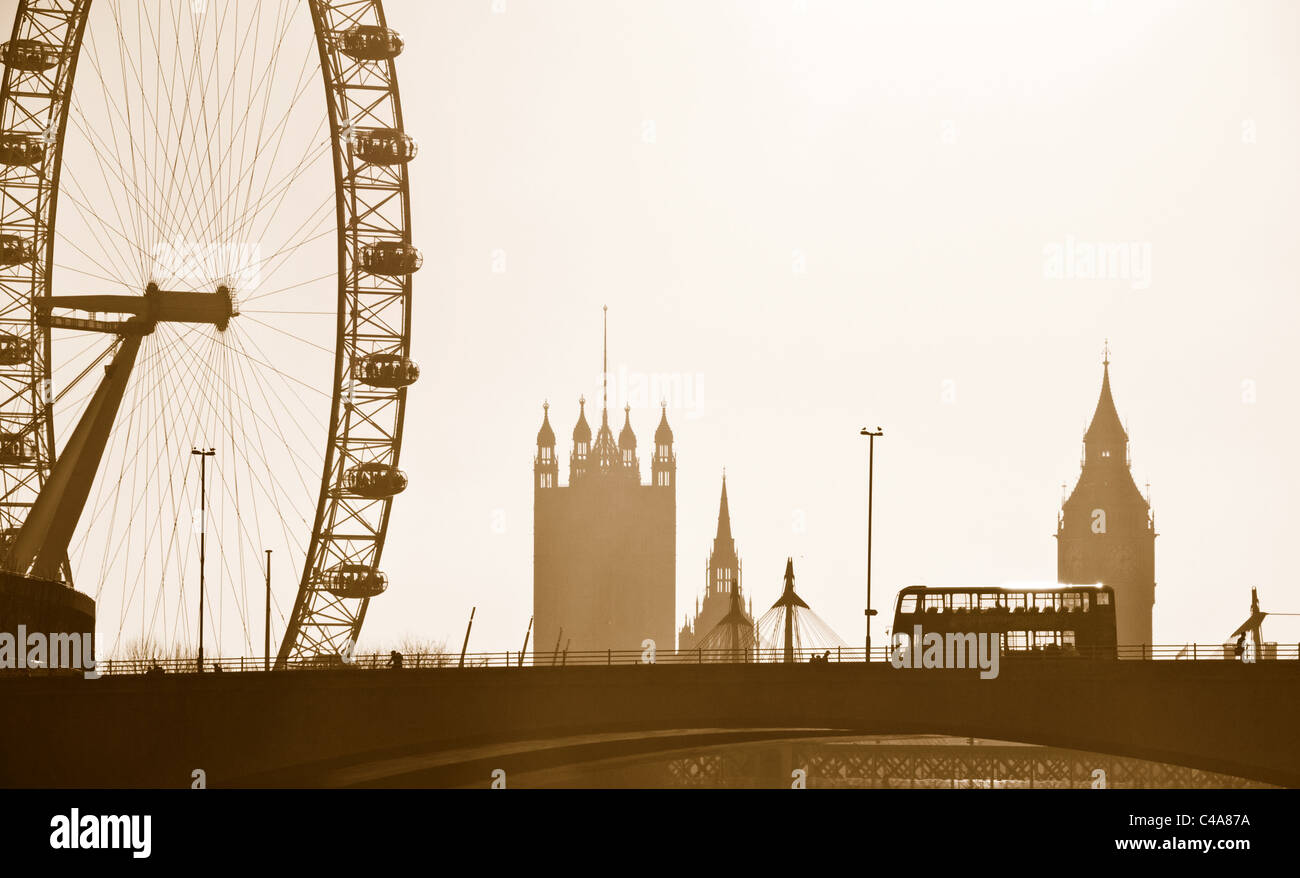 Silhouette Skyline Of The London Eye Big Ben Westminster And Traditional Bus