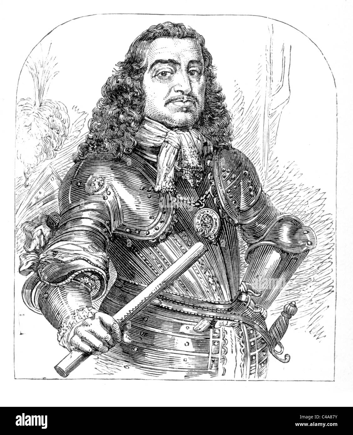 General Monck or Monk, 1st Duke of Albermarle, English soldier and politician and a key figure in the restoration - Stock Image