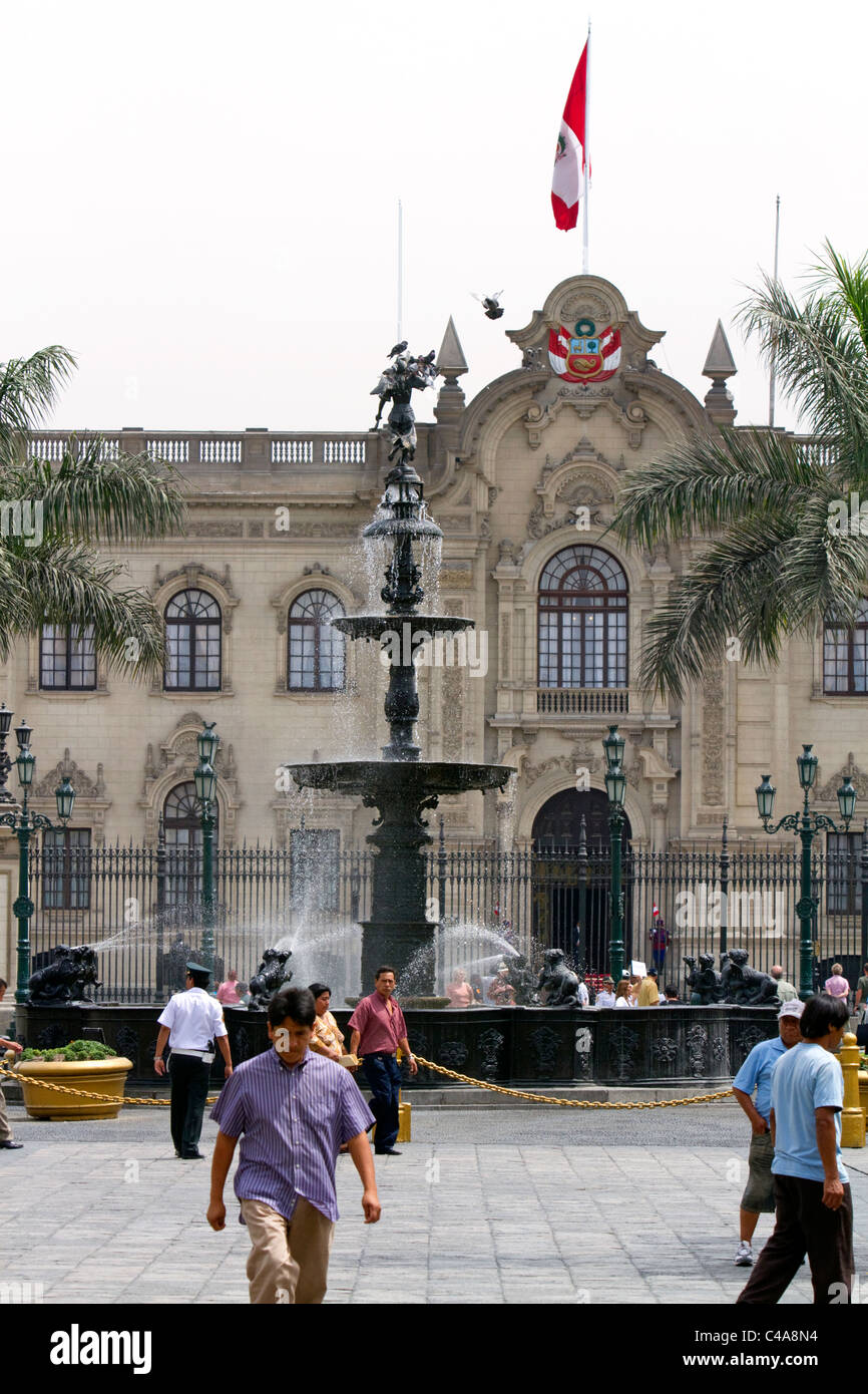 The Government Palace of Peru also known as the House of Pizarro, located on the north side of Plaza Mayor in Lima, Stock Photo