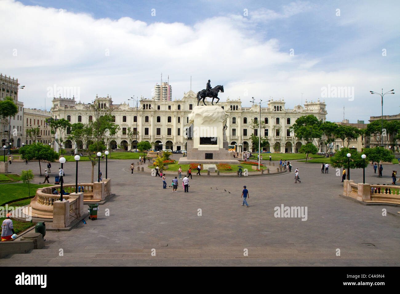 Plaza San Martin located within the Historic Centre of Lima, Peru. Stock Photo