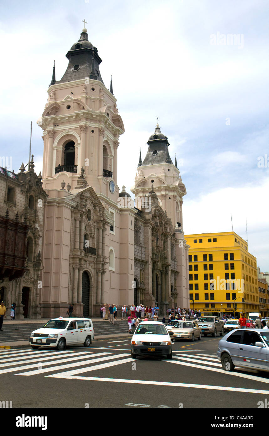 Basilica Cathedral at the Plaza Mayor or Plaza de Armas of Lima, Peru. Stock Photo