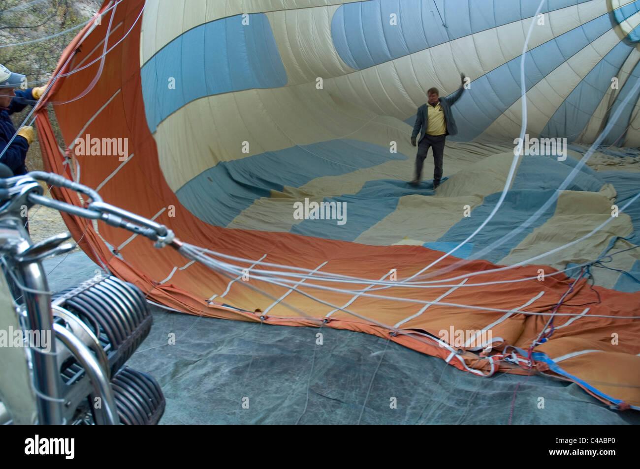 Photograph of the preflight of a hot air balloon in Kapadokya Turkey - Stock Image