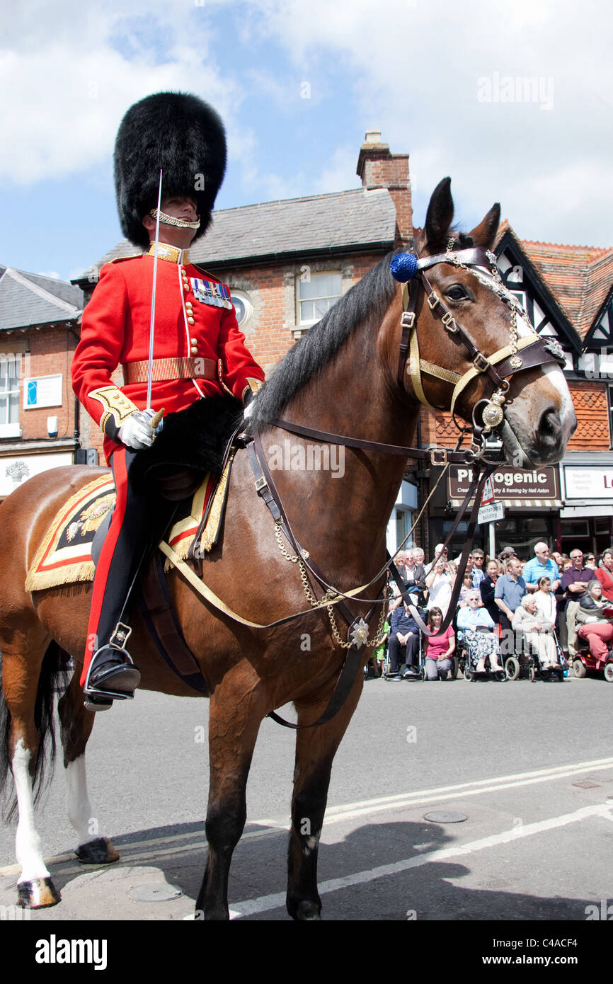 Lt Col Lincoln Jopp MC commands the 1st Battalion Scots Guards Freedom of Wantage Parade 21 May 2011. Bright blue - Stock Image